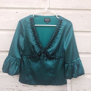 NWT Adrianna Papell Green Beaded Dressy Top